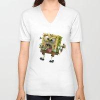 spongebob V-neck T-shirts featuring SpongeBob SquarePants by Tayfun Sezer