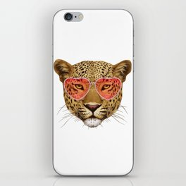 Leopard in Love! Portrait of Leopard with sunglasses. iPhone Skin