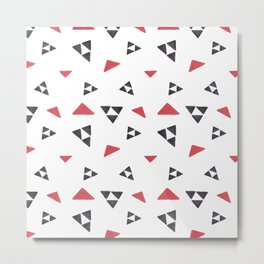 Hand painted watercolor black red geometrical triangles Metal Print