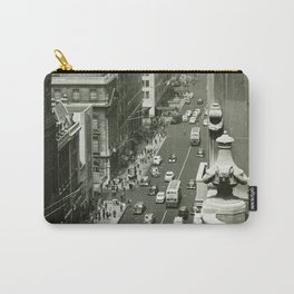 Fifth Avenue, New York City, B&W, high angle view 1950s vintage photo Carry-All Pouch