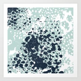 Izzie - abstract painting navy mint white trendy color palette summer bright decor Art Print