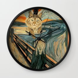 Funny Maine Coon Cat The Scream Flying Maine Coon Kitty Wall Clock