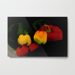 Peppers in Hot Abstract Metal Print