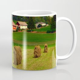 Hay bales and country village   landscape photography Coffee Mug