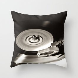 Music From a Vintage 45 RPM Record Playing on a Turntable 5 Throw Pillow