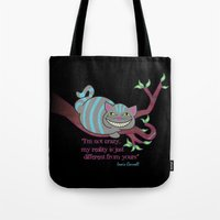 cheshire Tote Bags featuring Cheshire cat by Pendientera
