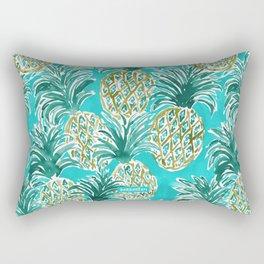 AQUA PINEAPPLE O'CLOCK Tropical Hawaiian Watercolor Rectangular Pillow