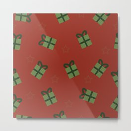 Gifts and stars - red and green Metal Print