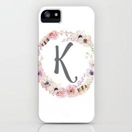 Floral Wreath - K iPhone Case