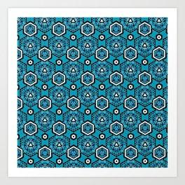 Cerulean Blue Geometric Pattern Design Art Print