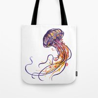 jellyfish Tote Bags featuring Jellyfish by Sam Nagel