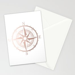 Rose Gold Compass Stationery Cards