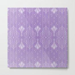 Pastel Lavender Lily Lake - Retro Floral Pattern Metal Print