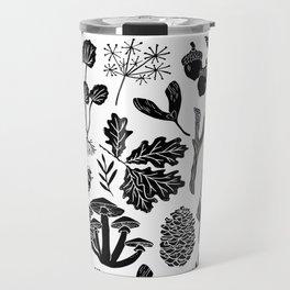 Linocut minimal botanical boho feathers nature inspired scandi black and white art Travel Mug