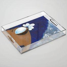 Sassy Girl Royal Blue and White Acrylic Tray