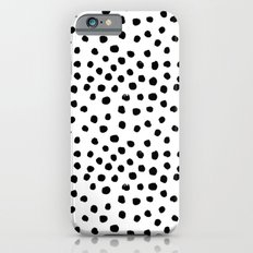 Preppy black and white dots minimal abstract brushstrokes painting illustration pattern print  iPhone 6s Slim Case