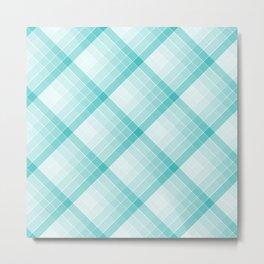 Aqua Blue Geometric Squares Diagonal Check Tablecloth Metal Print