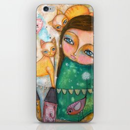 Make a Wish! girl and Kittens iPhone Skin