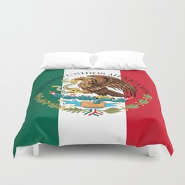 Flag of Mexico with Coat of Arms (augmented scale) Duvet Cover
