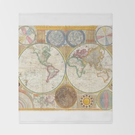 1794 Vintage World Map Samuel Dunn Throw Blanket