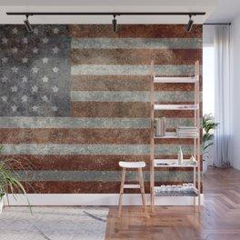 USA flag - Old Glory in dark grunge Wall Mural