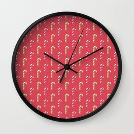 Red And Green Peppermint Christmas Pattern Wall Clock