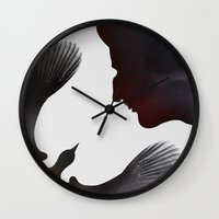 edgar allen poe Wall Clocks featuring Edgar Allen Poe and the Raven ~ Second Edition by The Herald Project