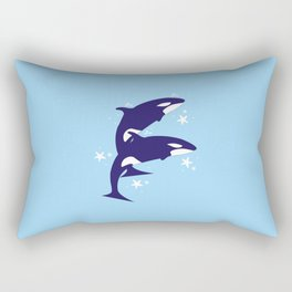 Sealife (Whales) - Pale Blue Rectangular Pillow