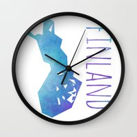 finland Wall Clocks featuring Finland by Stephanie Wittenburg