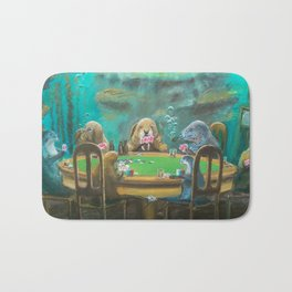 Pinnipeds Playing Poker Bath Mat