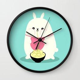 Fat bunny eating noodles Wall Clock