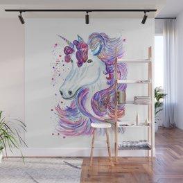 Rainbow unicorn portrait Wall Mural