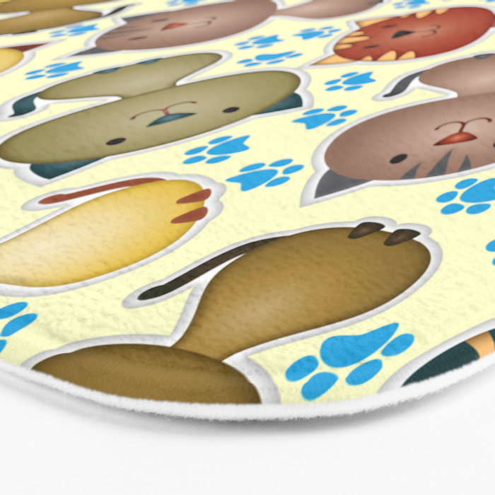 Cute Cats with Paws on the Background Bath Mat