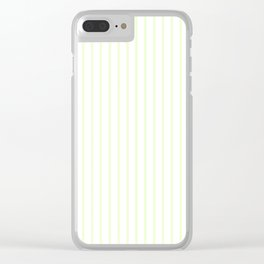 Pale Cucumber Pin Stripe on White Clear iPhone Case