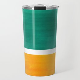 Colorful Bright Minimalist Rothko Minimalist Midcentury Art Marine Green Gold Vintage Pop Art Travel Mug