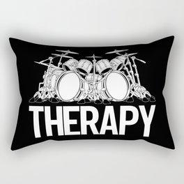 Drummers Therapy Drum Set Cartoon Illustration Rectangular Pillow