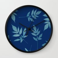 botanical Wall Clocks featuring Botanical by Jody Edwards Art
