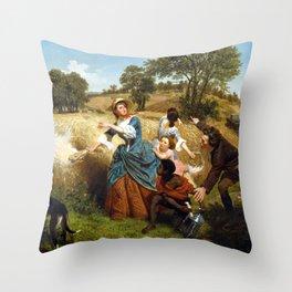 Emanuel Gottlieb Leutze Mrs. Schuyler Burning Her Wheat Fields on the Approach of the British Throw Pillow