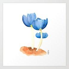 Blue fungi Art Print