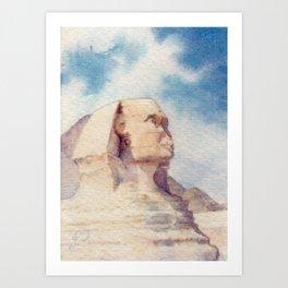 Sphinx Egypt Historical Monument Sculpture Watercolour Landscape Art Print
