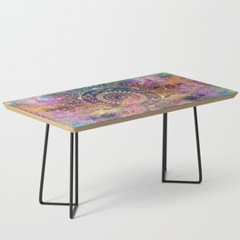 Gold watercolor and nebula mandala Coffee Table