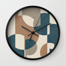 Intersecting Geometric Segments and Lines -Abstract Design in Cinnamon, Taupe, Ivory and Aqua Colors Wall Clock