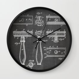 Razor Patent - Barber Art - Black Chalkboard Wall Clock