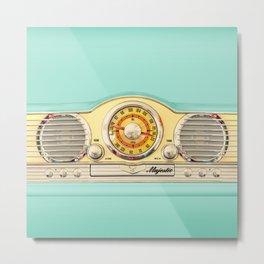 Blue teal Classic Old vintage Radio Metal Print