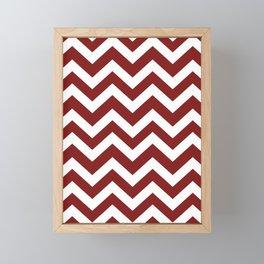 Falu red - red color - Zigzag Chevron Pattern Framed Mini Art Print