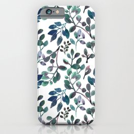 Jade and Succulent Watercolor Plant Pattern iPhone Case