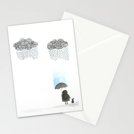Old lady and the rain Stationery Cards