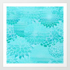 Aqua Blue Floral Flower pattern- Turquoise Abstract Flowers on #Society6 Art Print