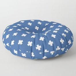 White Swiss Cross Pattern on Blue background Floor Pillow