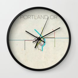 Minimal Portland, OR Metro Map Wall Clock